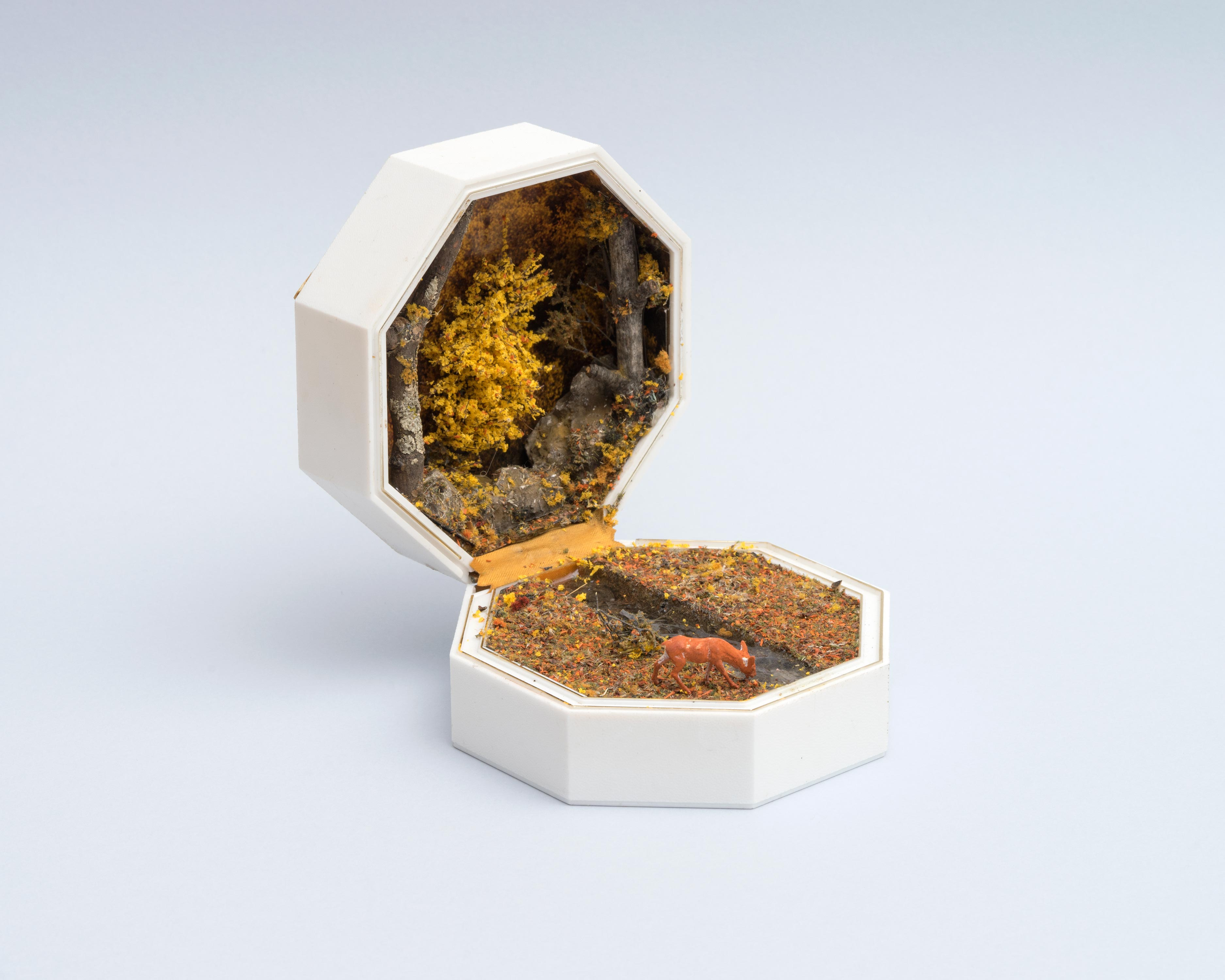 Curtis Talwst Santiago<br>Nanganesey Creek With Deer<br>2016<br>Mixed media diorama in reclaimed jewelry box<br>4.375 x 4.375 x 5.5  in (11 x 11 x 14 cm)