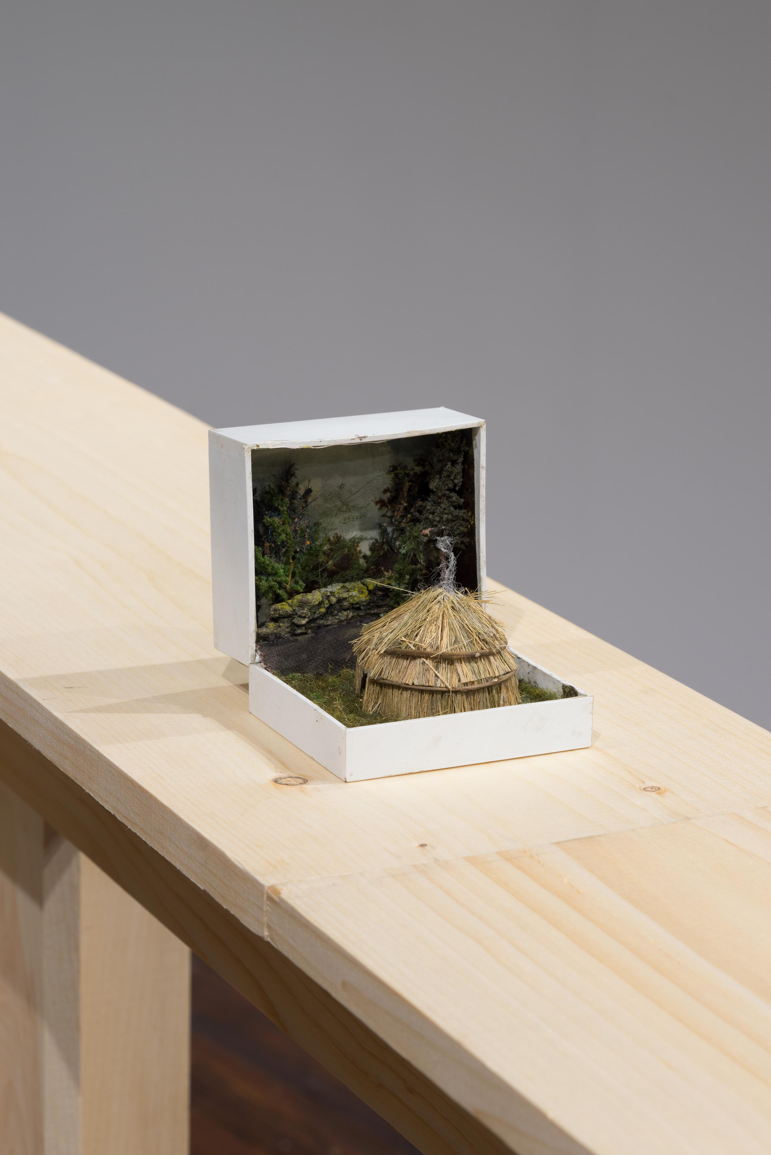Curtis Talwst Santiago<br>Lenape Wigwam in Clearing<br>2016<br>Mixed media diorama in reclaimed jewelry box<br>3.875 x 3.3 x 4 in (9.8 x 8.4 x 10.2 cm)