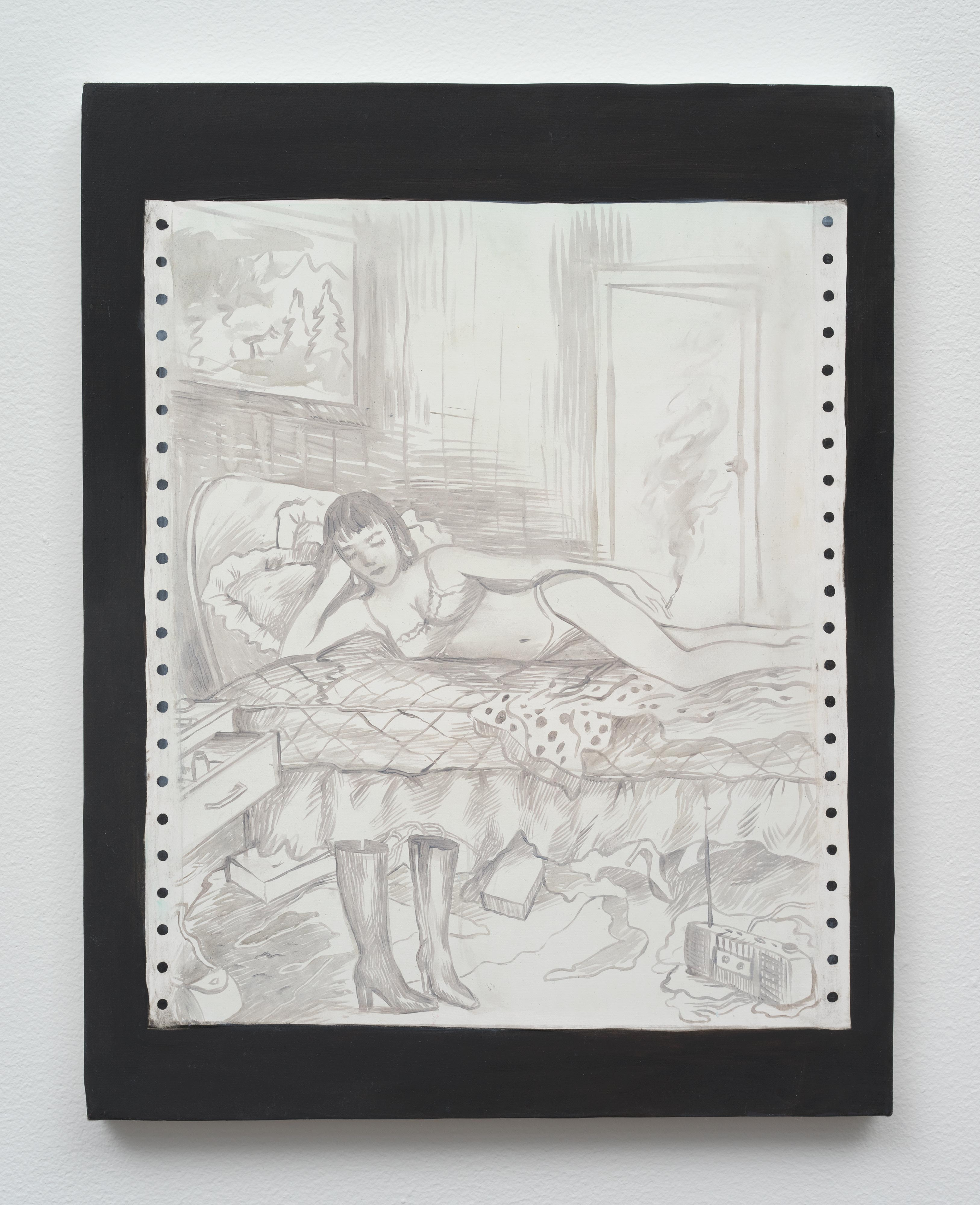 Brandi Twilley<br>Smoking in Bed<br>2014<br>oil on canvas<br>14 x 11 in (35.56 x 27.94 cm)