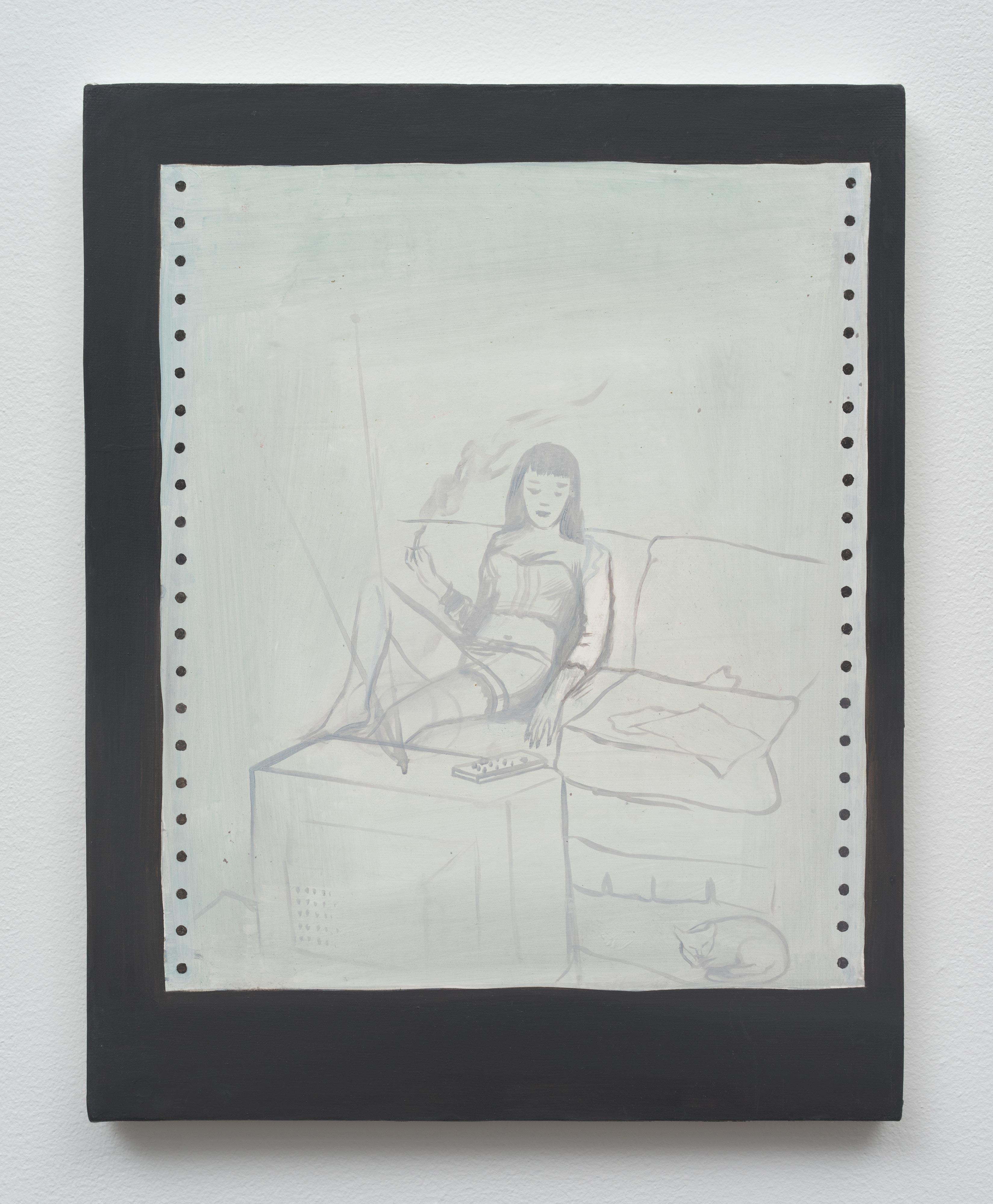 Brandi Twilley<br>Watching TV<br>2014<br>oil on canvas<br>14 x 11 in (35.56 x 27.94 cm)