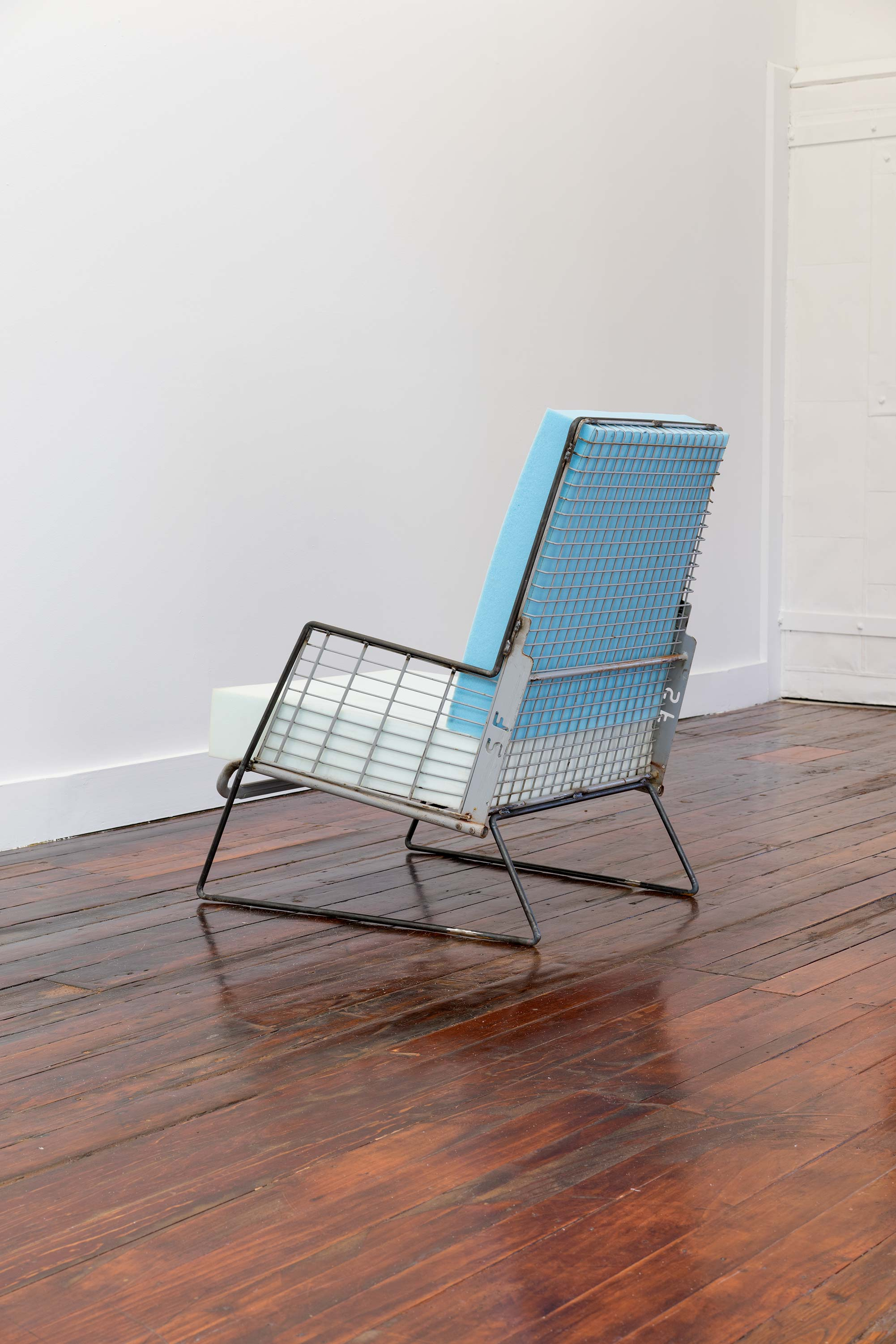 Nathan Azhderian<br>Untitled<br>2015<br>Steel shopping cart, hot rolled round steel bar, flexible polyurethane foam<br>24w x 39.5h x 26.5d inches (61 x 100 x 67 cm)