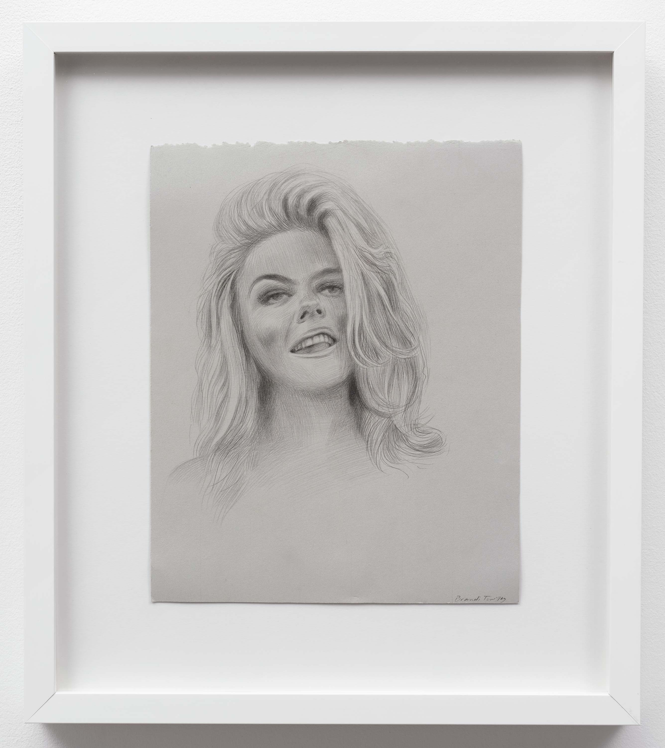 Brandi Twilley<br>Blond Hair<br>2014<br>Graphite on gray paper<br>9 x 11.5 inches (23 x 29 cm)