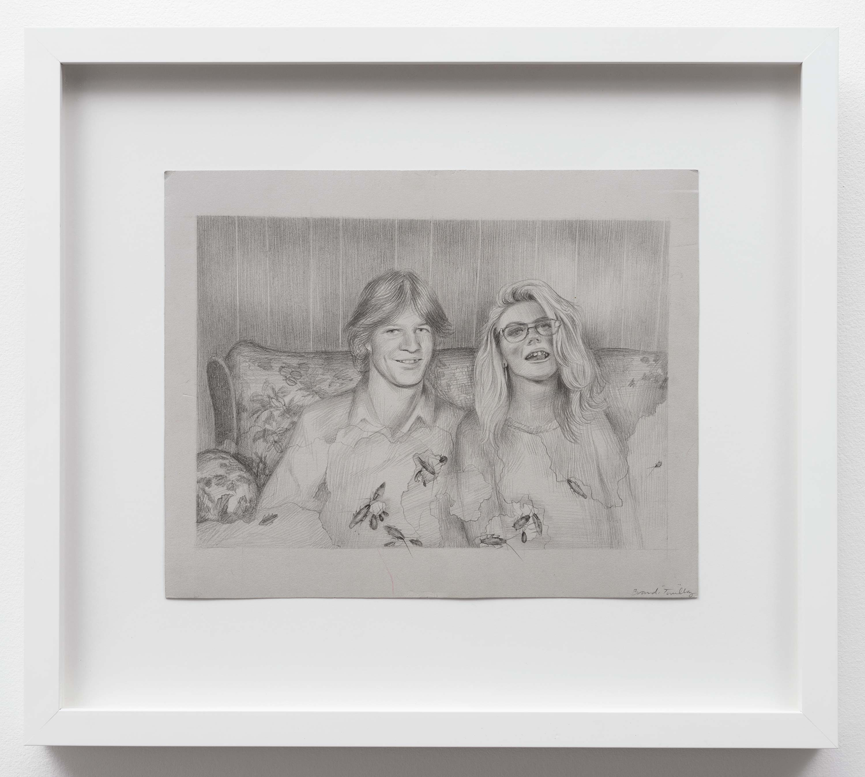 Brandi Twilley<br>On the Couch with Roaches<br>2015<br>Graphite on gray paper<br>9 x 11.5 inches (23 x 29 cm)