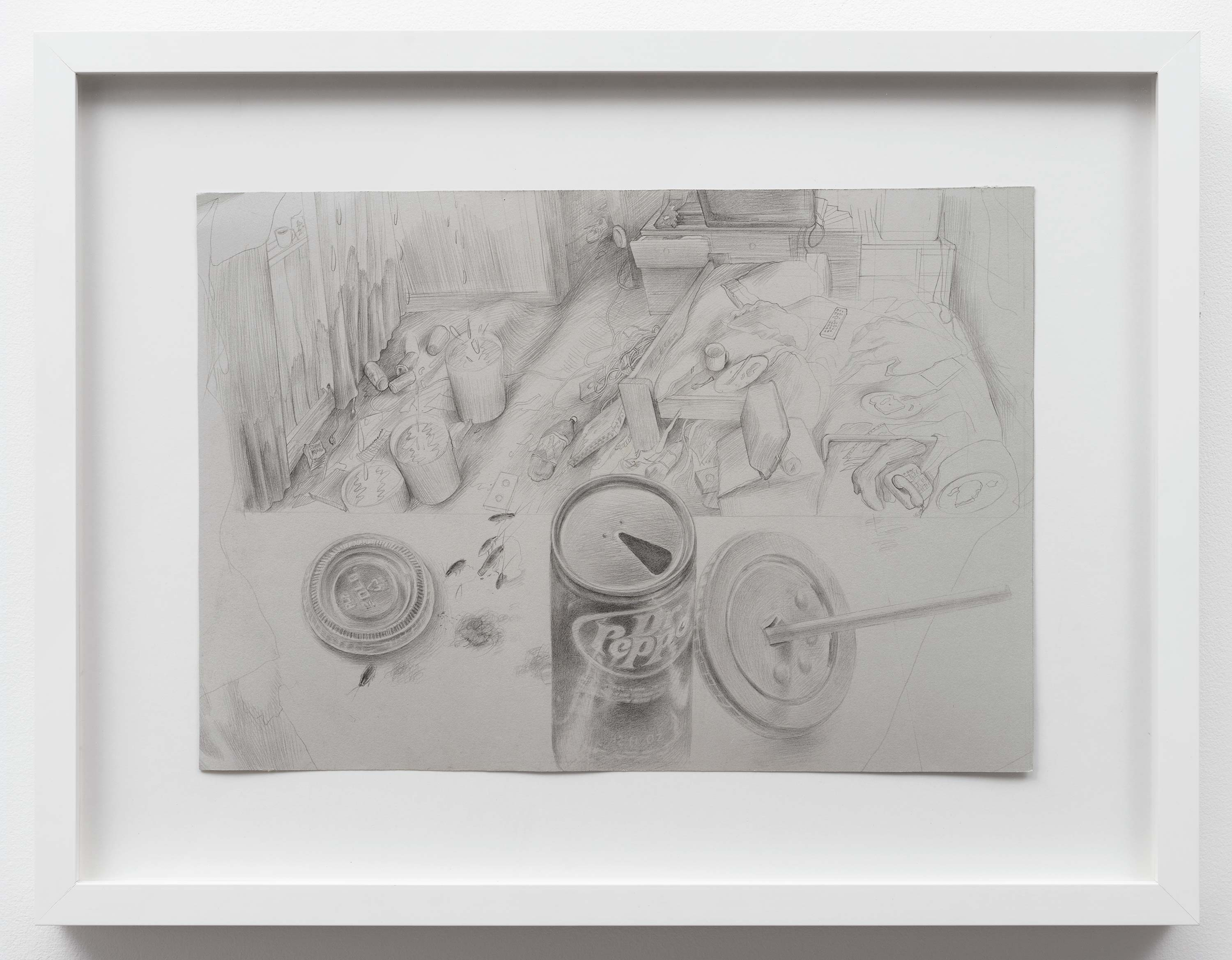 Brandi Twilley<br>Dr. Pepper and Living Room<br>2014<br>Graphite on gray paper<br>15 x 10.5 inches (38 x 26.5 cm)