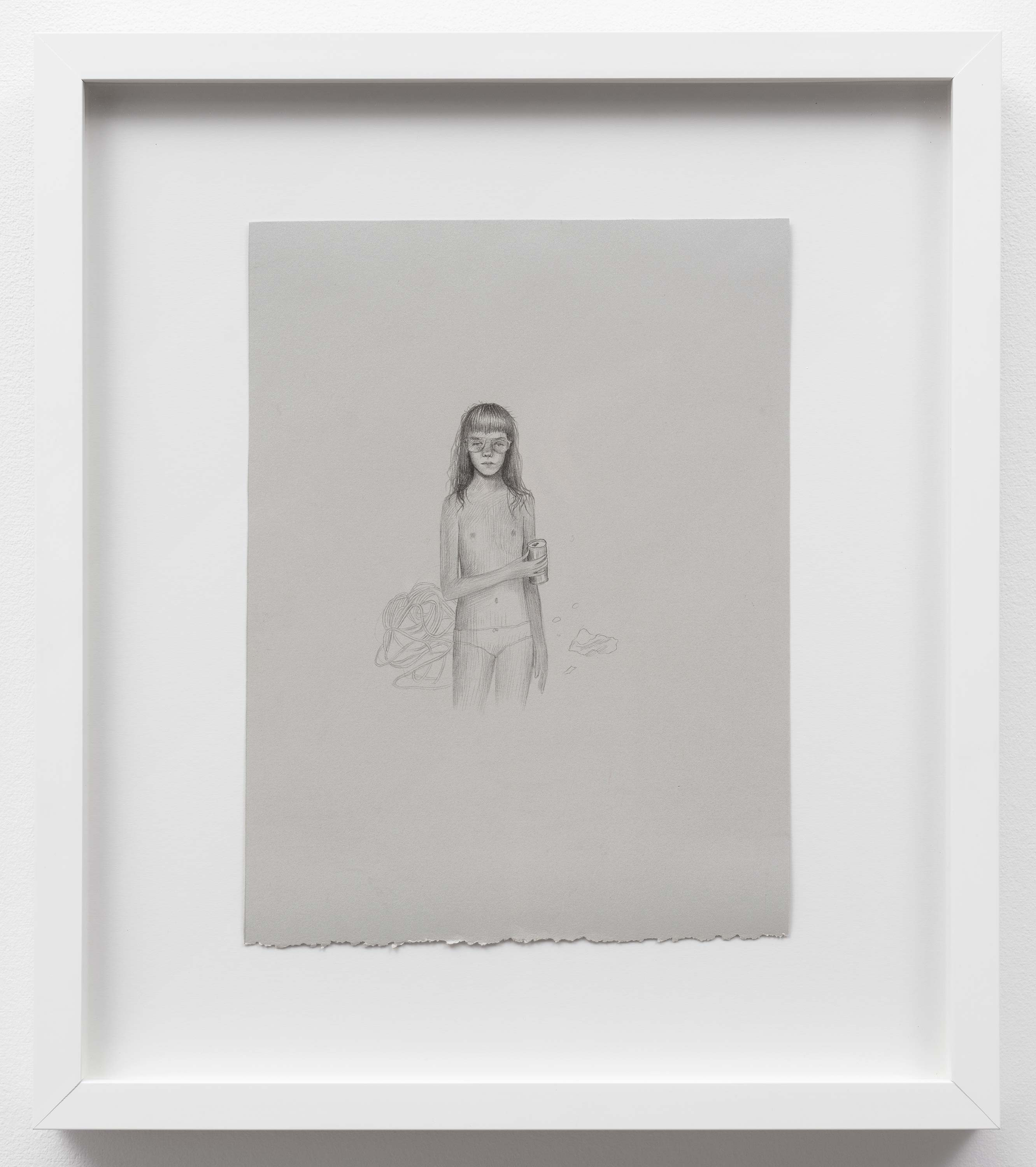 Brandi Twilley<br>Self-Portrait<br>2014<br>Graphite on gray paper<br>9 x 11.5 (23 x 29 cm)