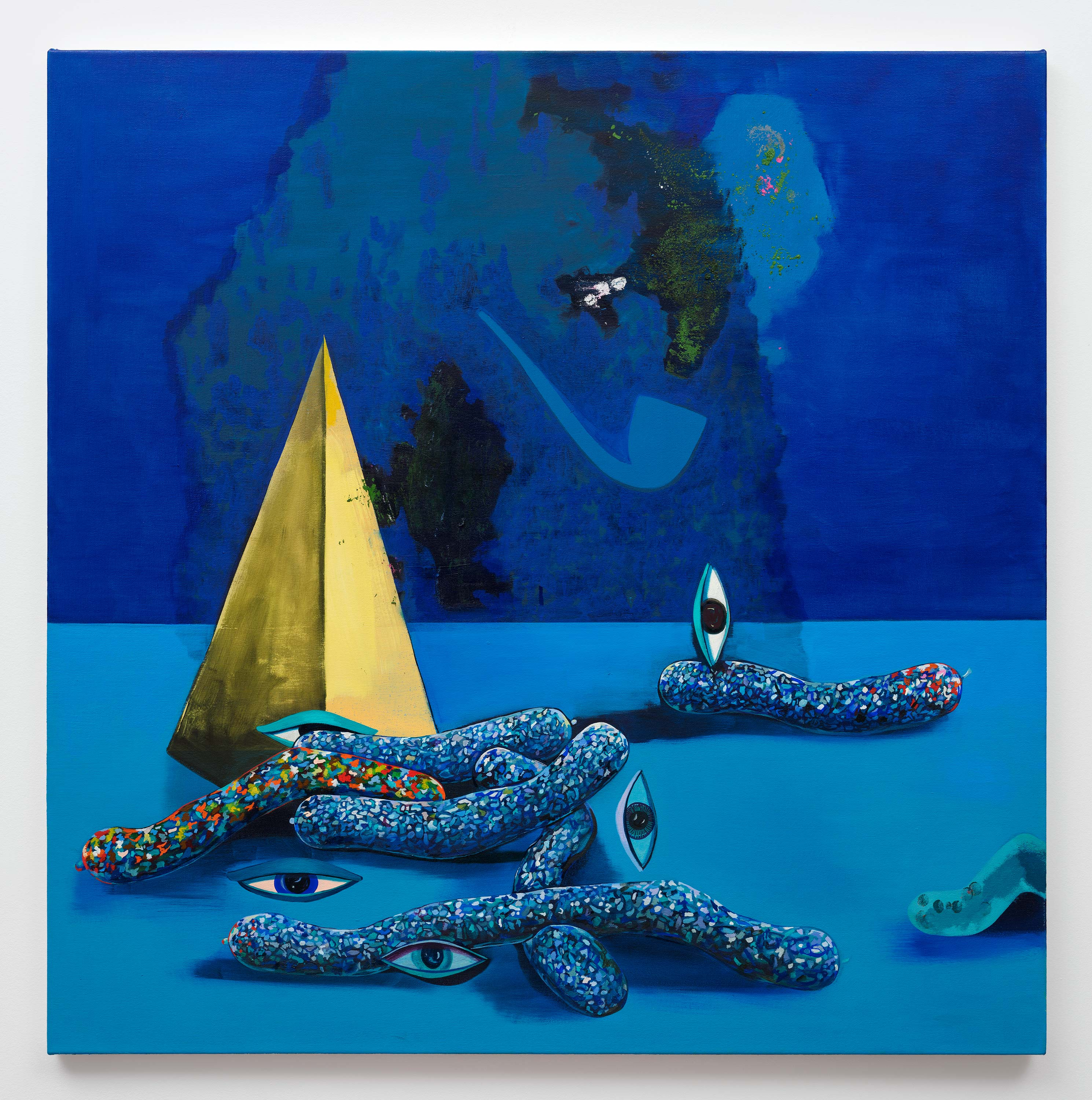 Paul Branca<br>Untitled, Sausage-yes, (Blue)<br>2015<br>Oil on canvas<br>40 x 40 inches (101.6 x 101.6 cm)
