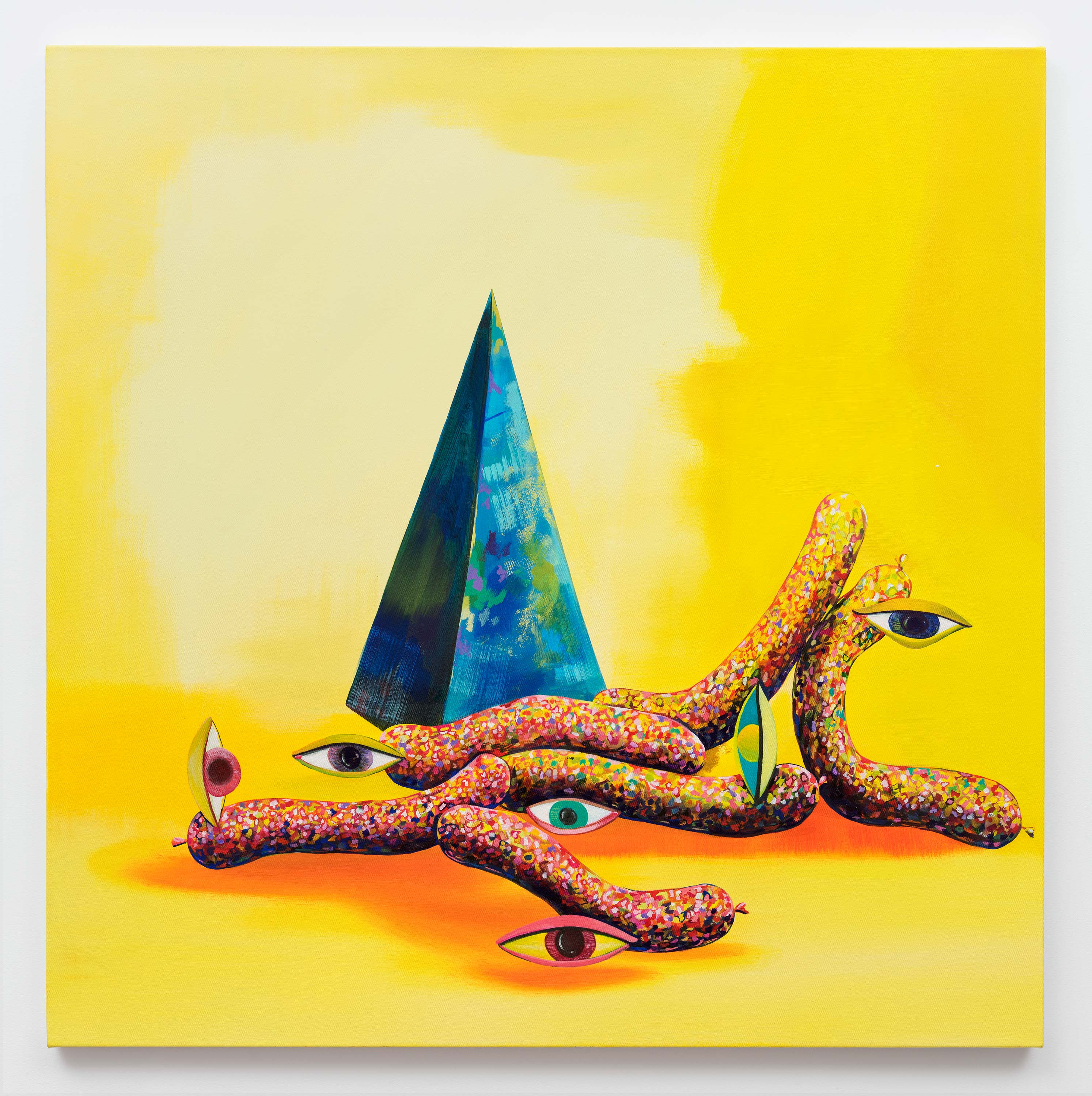 Paul Branca<br>Untitled, Sausage-yes, (Yellow)<br>2015<br>Oil on canvas<br>40 x 40 inches (101.6 x 101.6 cm)