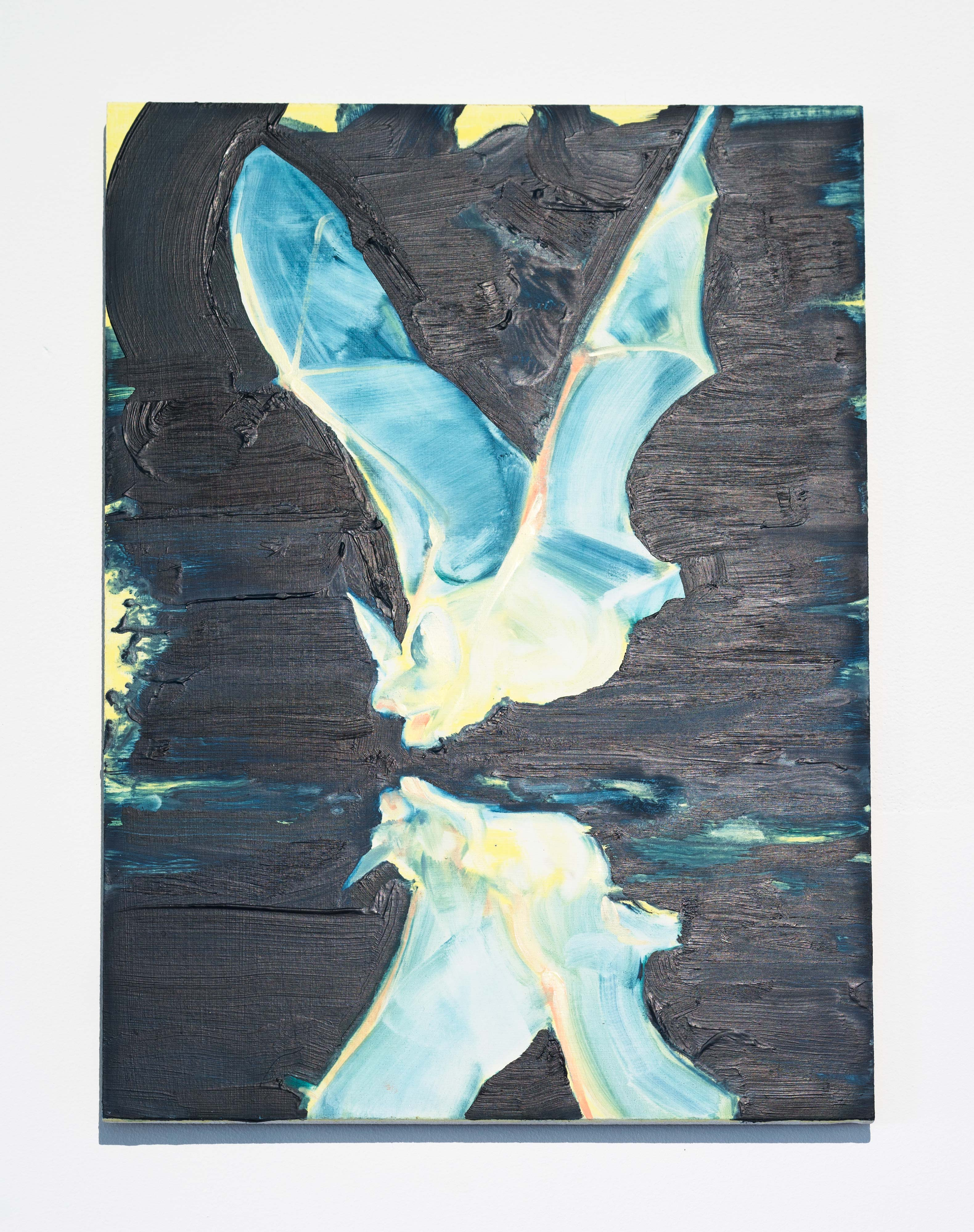 Laura Findlay<br>Reflected Night Bat (Bird)<br>2015<br>Oil on Panel<br>16 x 12 in (40.6 x 30.5 cm)