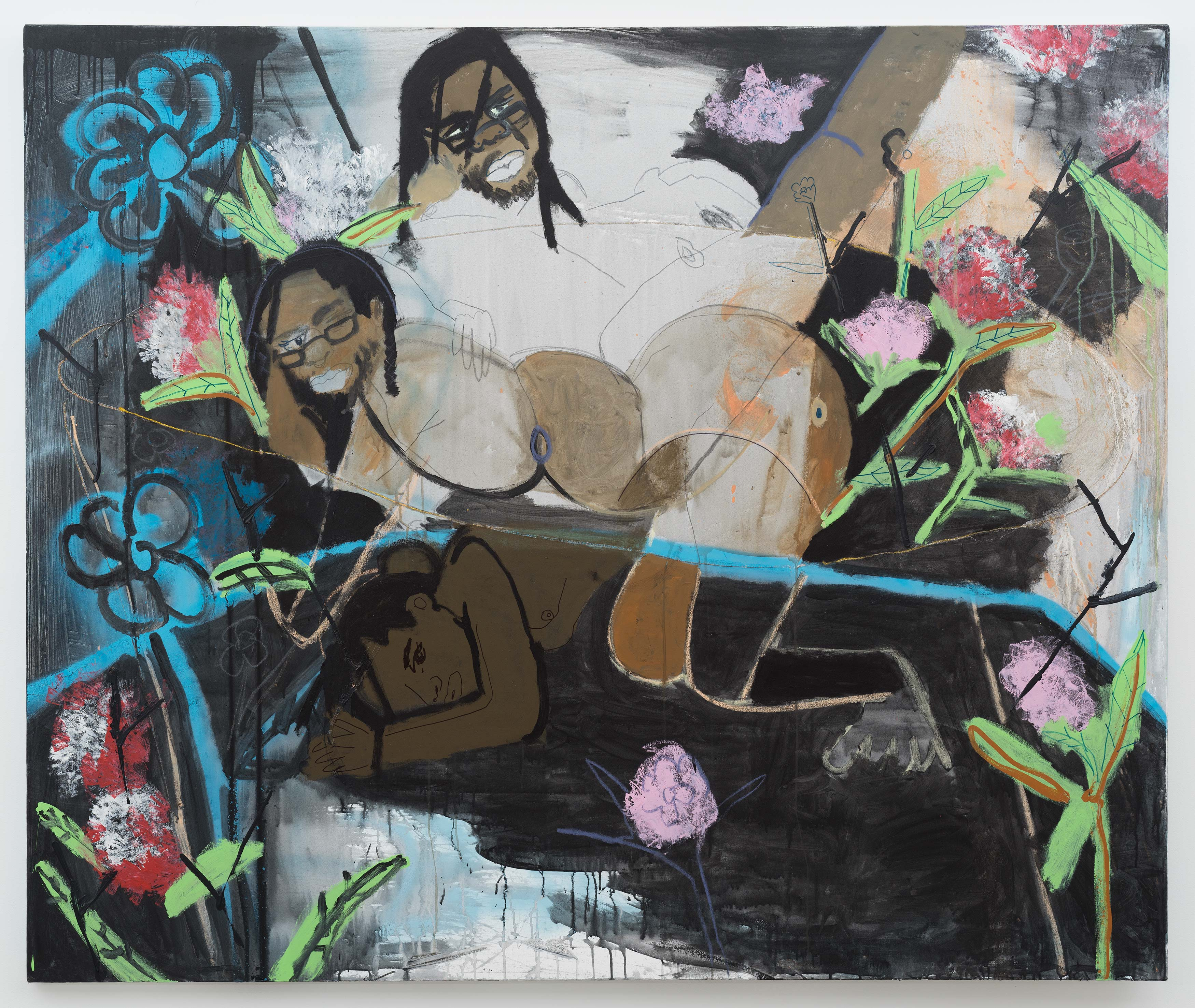 Jonathan Lyndon Chase<br>Darryl<br>2016<br>Acrylic, Glitter, Spray paint, graphite on canvas<br>60 x 72 in