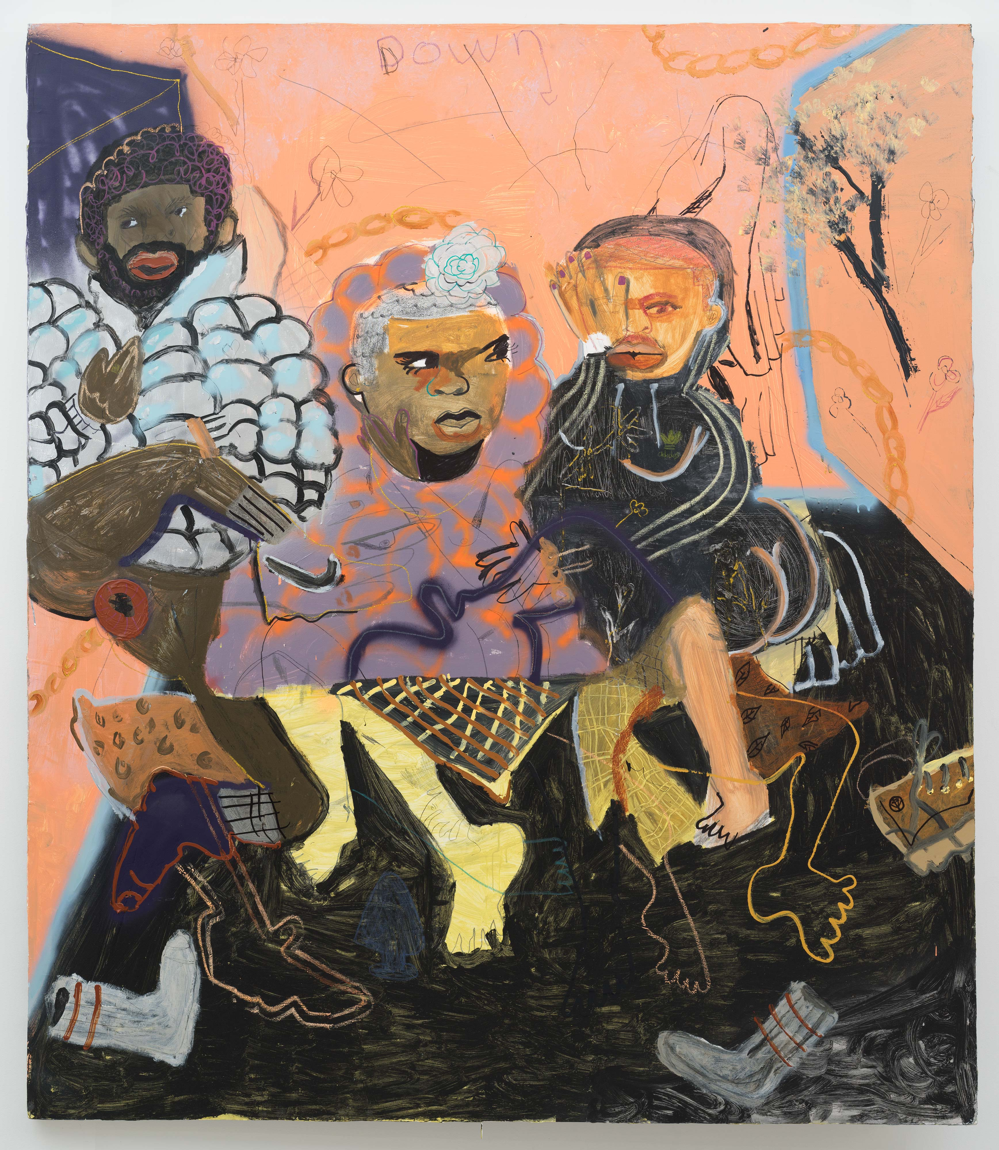 Jonathan Lyndon Chase<br>Puffy Jacket<br>2016<br>Acrylic, Glitter, Spray paint, marker, graphite on canvas<br>84 x 72 in