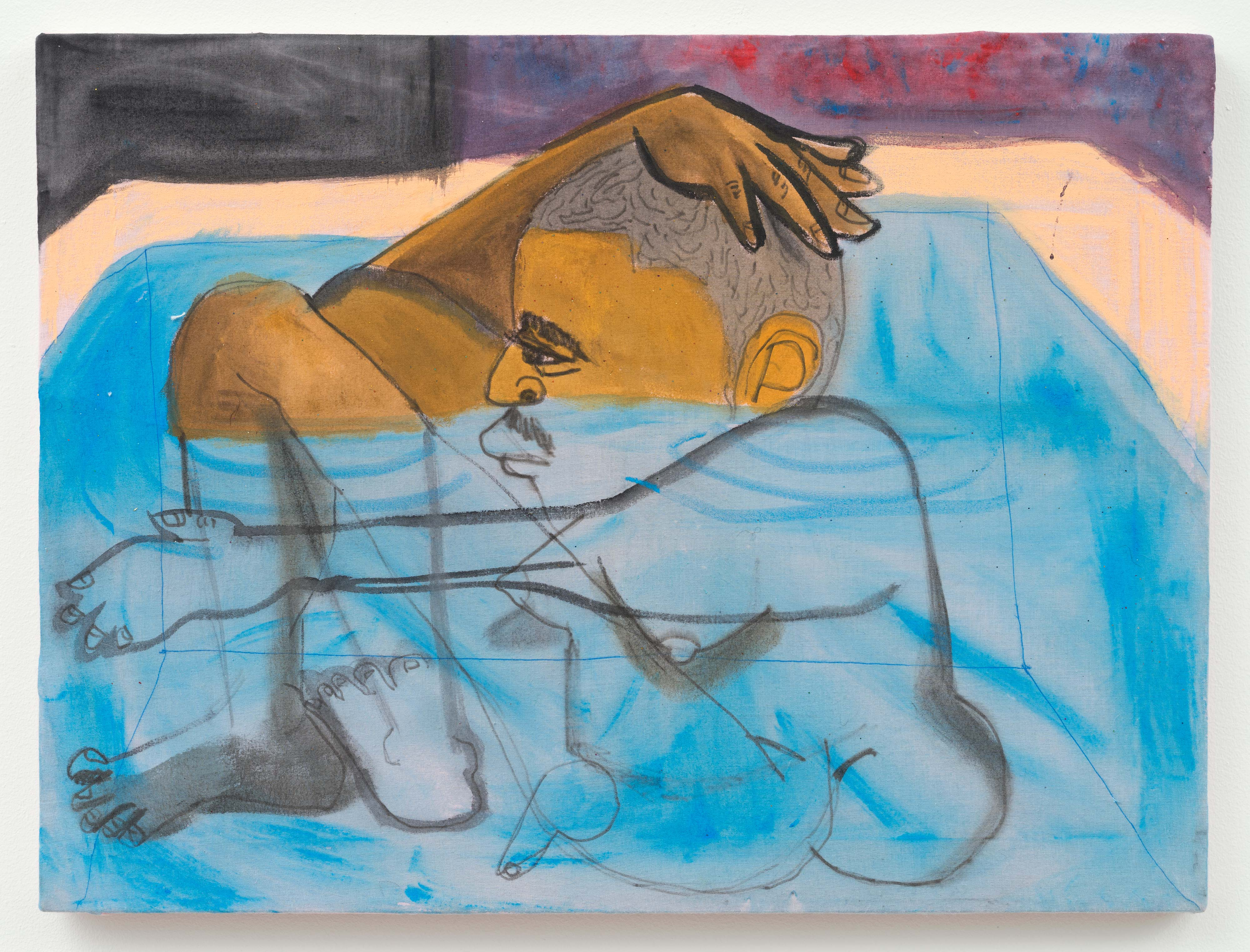 Jonathan Lyndon Chase<br>Man in Tub<br>2015<br>Acrylic and glitter on cotton<br>18 x 24 in (45.72 x 60.96 cm)