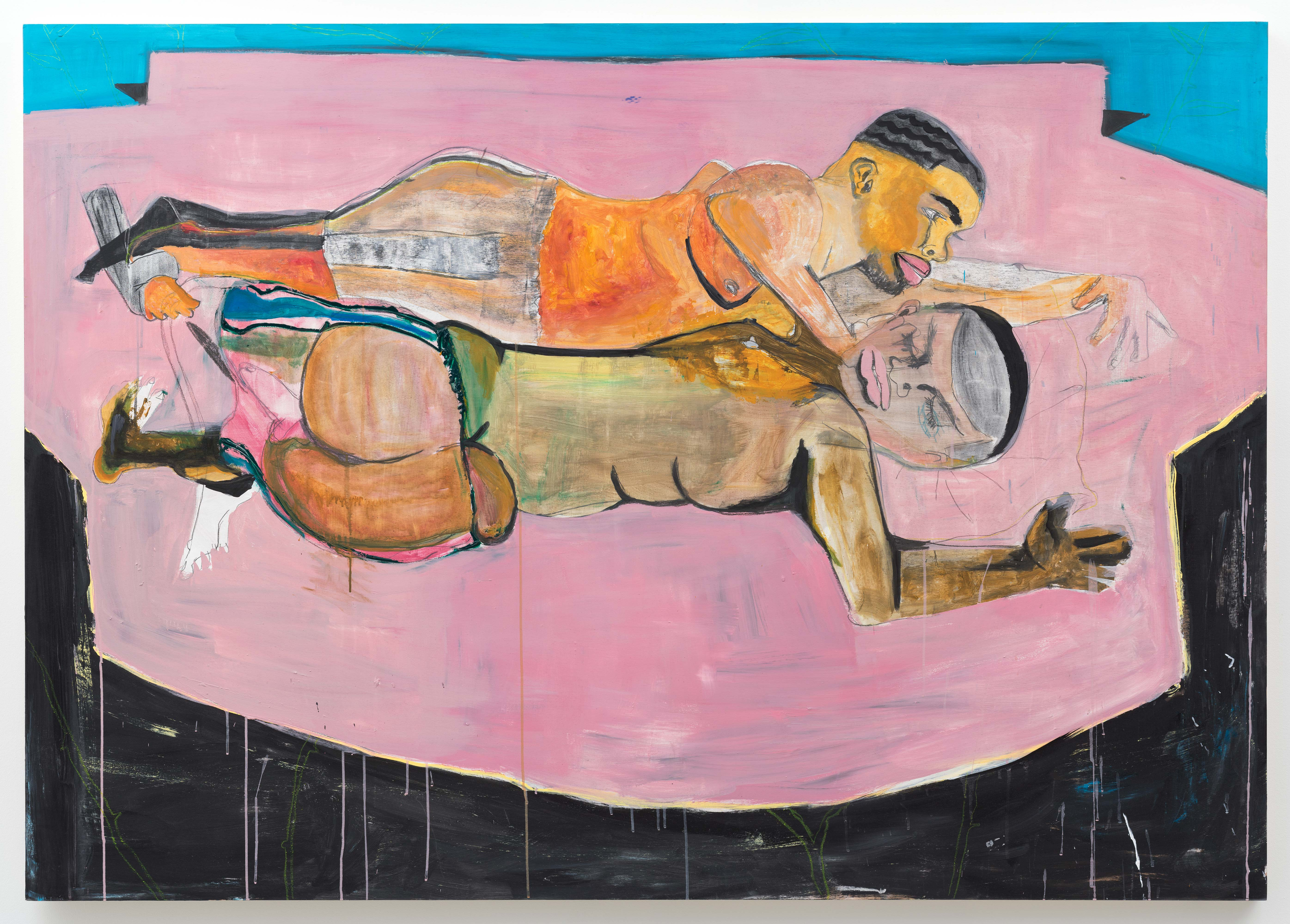Jonathan Lyndon Chase<br>Two Men in Bed<br>2015<br>acrylic on panel<br>60 x 84 in (152.4 x 213.4 cm)