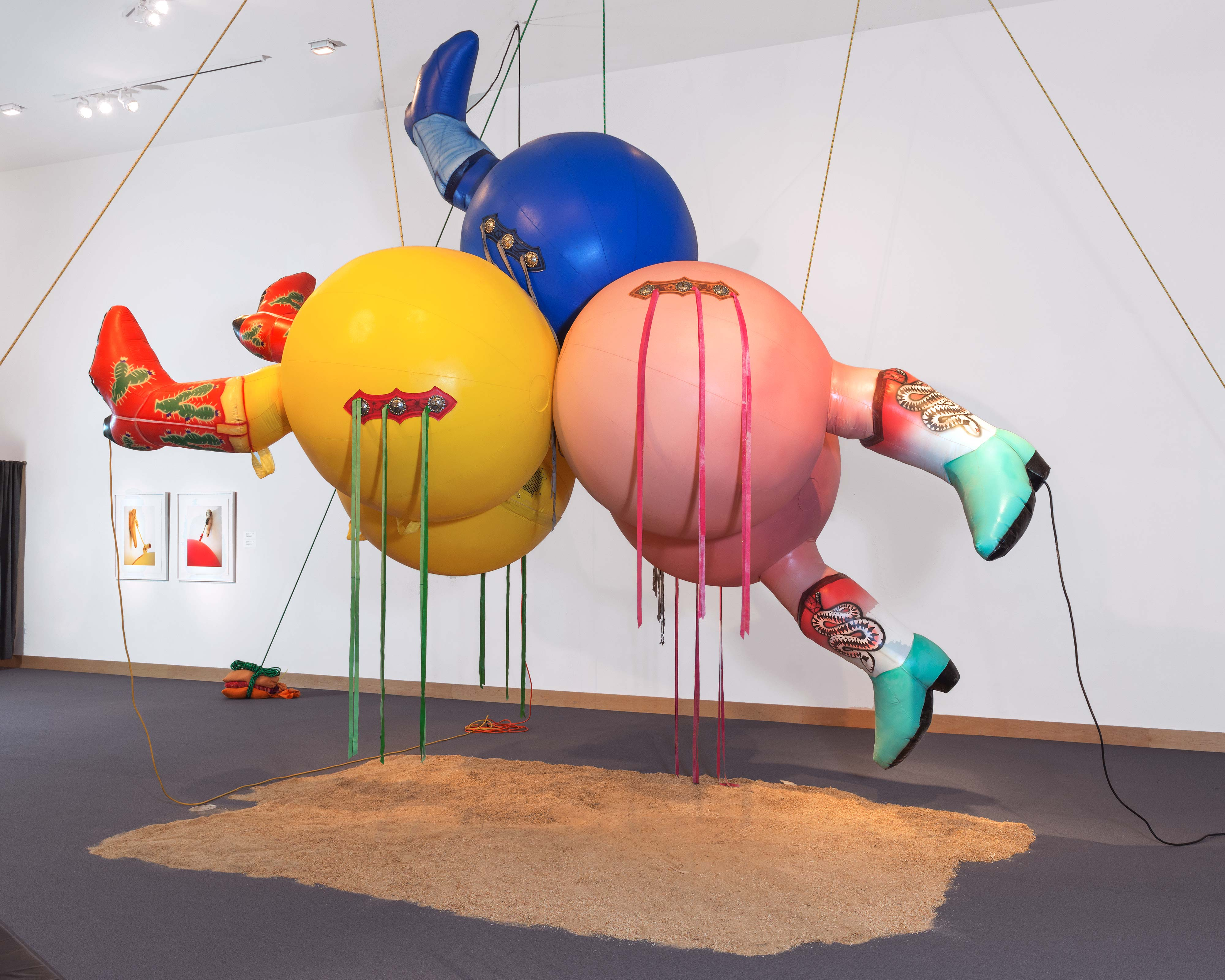 Nancy Davidson<br>Dust Up<br>2012<br>Vinyl coated nylon, rope, leather, blower, sandbags, sawdust<br>20 x 20 x 16 ft<br>installation view at the Boca Raton Museum of Art