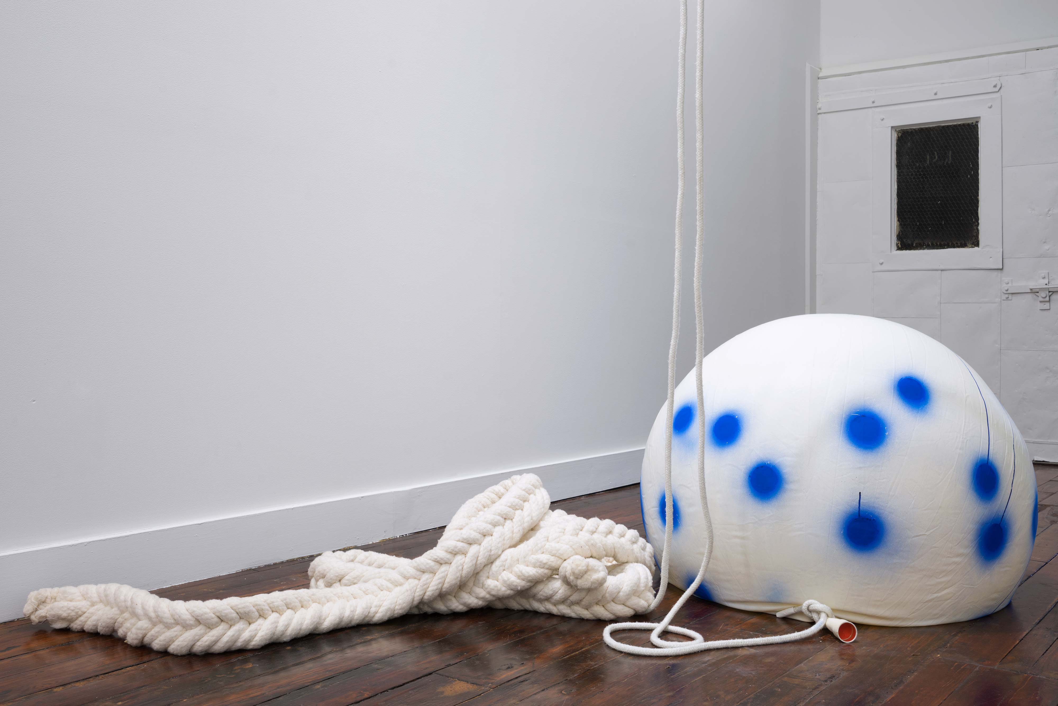 Nancy Davidson<br>Fallen Cloud (1)<br>1997-2016<br>latex, rope, paint, cotton<br>36 x 36 in (91 x 91 cm)<br>height variable