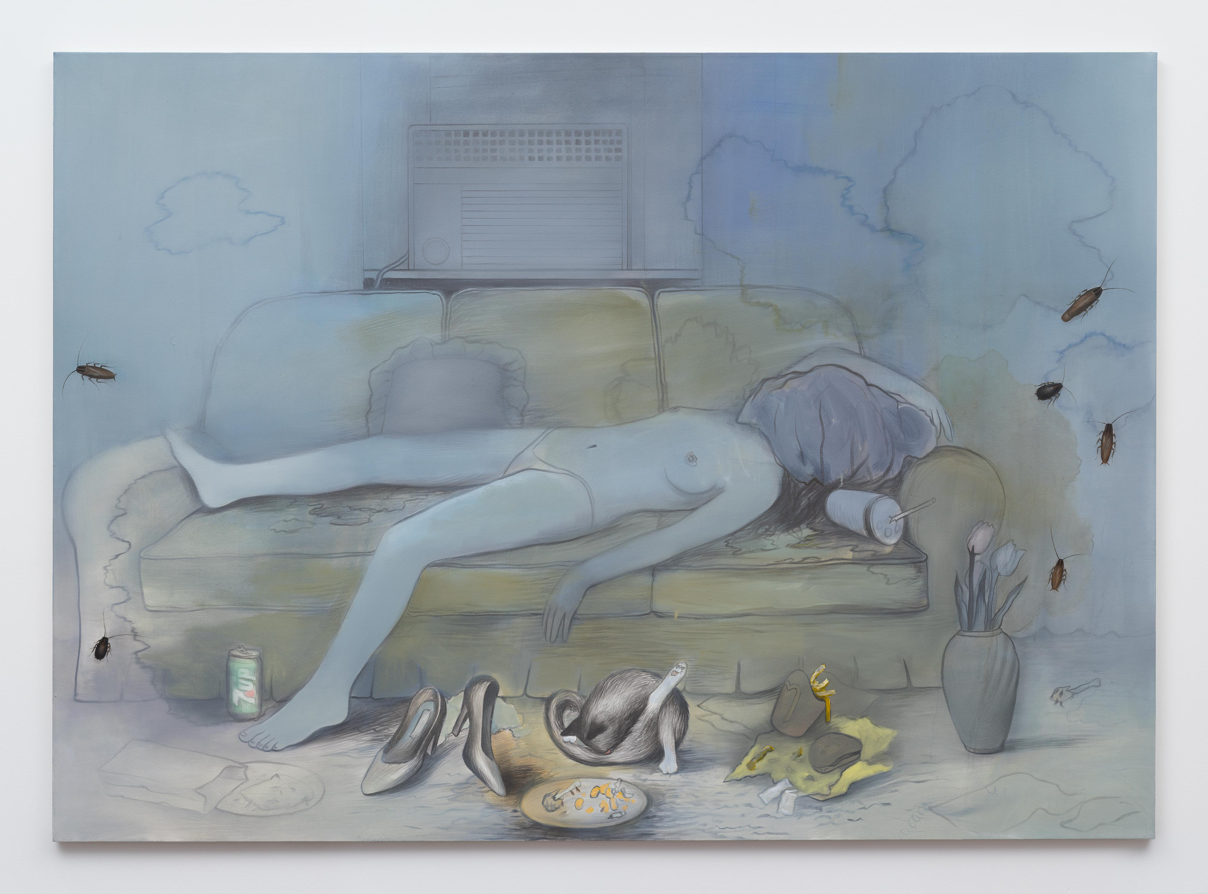 Brandi Twilley<br>Napping by the AC<br>2016<br>oil on canvas<br>60 x 84 in (152.4 x 172.72 cm)