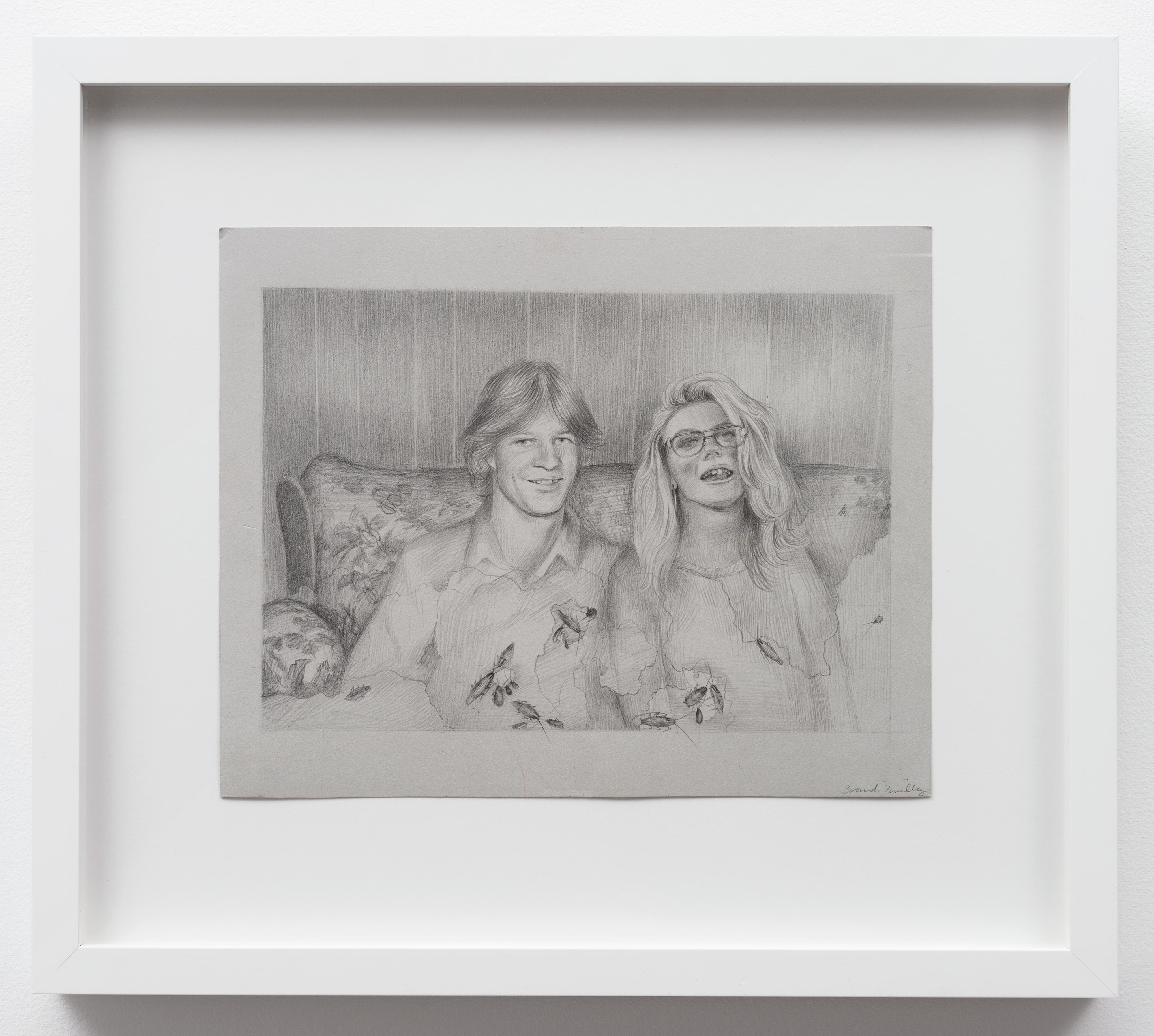 Brandi Twilley<br>On the Couch with Roaches<br>2015<br>Graphite on gray paper<br>9 x 11.5 in (23 x 29 cm)