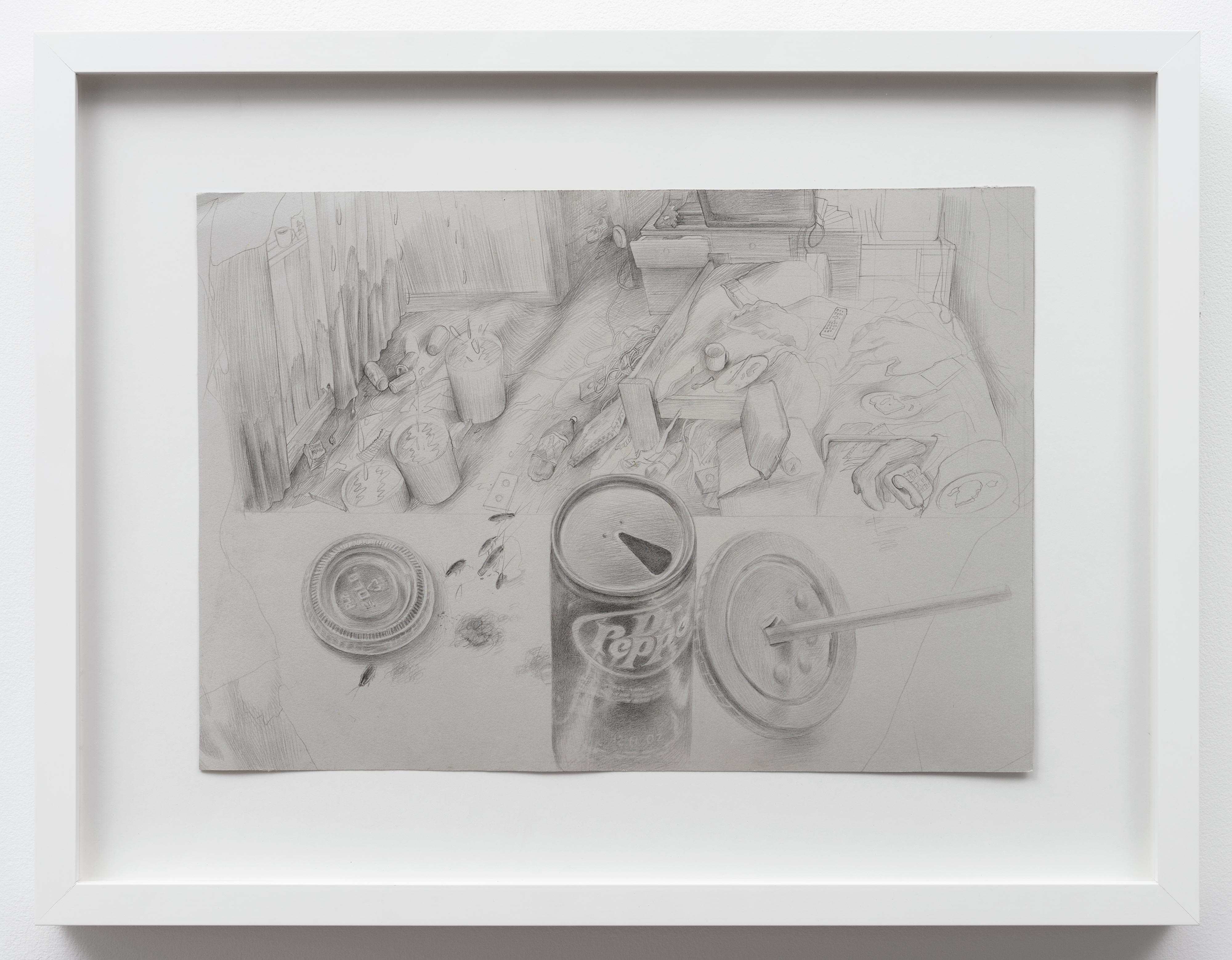 Brandi Twilley<br>Dr. Pepper and Living Room<br>2014<br>Graphite on gray paper<br>15 x 10.5 in (38 x 26.5 cm)